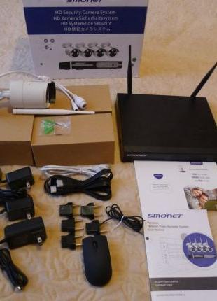 Wi-fi комплект видеонаблюдения 720p 4 камеры Smonet 4 канала/4...