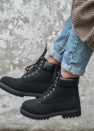 Timberland fur black женские зимние ботинки с мехом чёрные зима