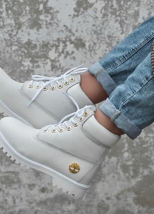 Timberland fur white женские зимние ботинки с мехом белые зима