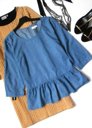 Джинсовая блуза, блузка с воланом, рюшей