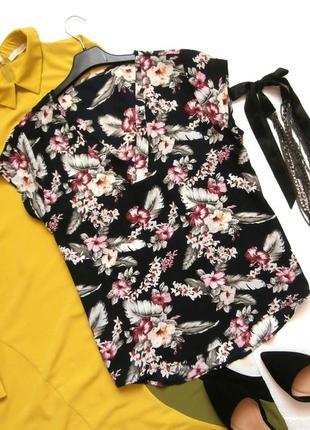 Шифоновая блуза блузка в цветочный принт