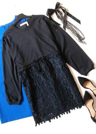 Роскошное платье-свитшот с кружевом, платье гипюр
