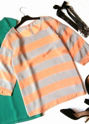 Интересная блуза в полоску батал, большой размер