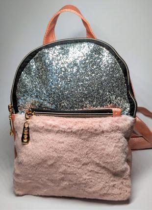 Женский рюкзак блестки и мех, пудра розовый
