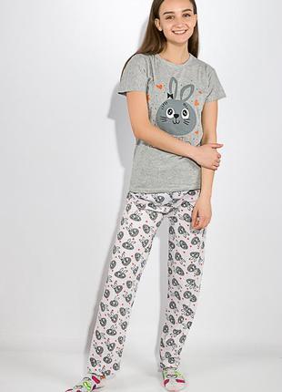 Хлопковая женская пижама (штаны+футболка)
