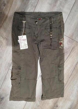 Котоновые укороченые штаны бриджы капри хаки. штаны милитари у...