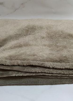 Плед серый, коричневый мягкий, флисовый (210х150)(135х180)