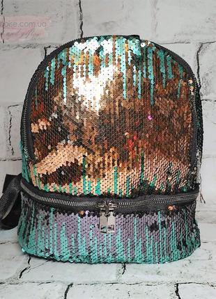 Женский рюкзак пайетки, зеленый, градиент