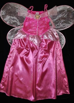 Платье disney 7-8 лет розовое на принцессу фею спереди кулон к...