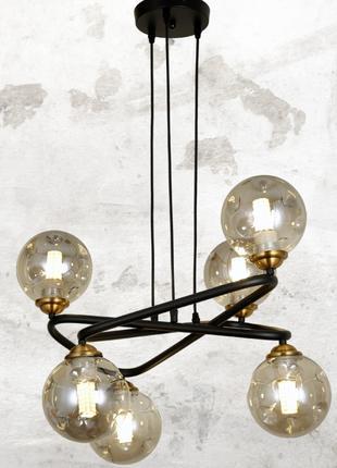 Современная люстра шарики в стиле лофт цвет черный Levistella&...