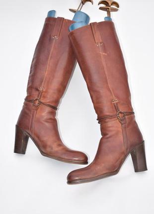 Женские итальянские классические сапоги buttero кожаные коричн...