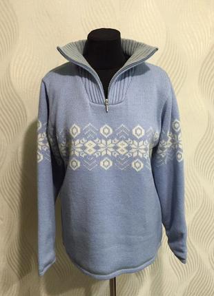 Голубой свитер со снежинками double speed воздухонепроницаемый...