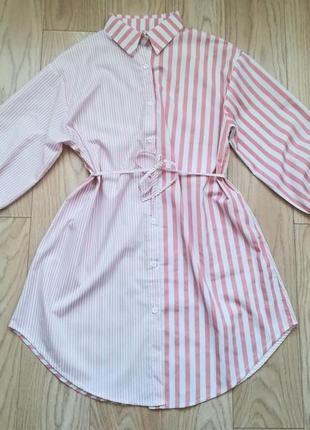 Стильная длинная рубашка в розовую полоску, xl/xxl