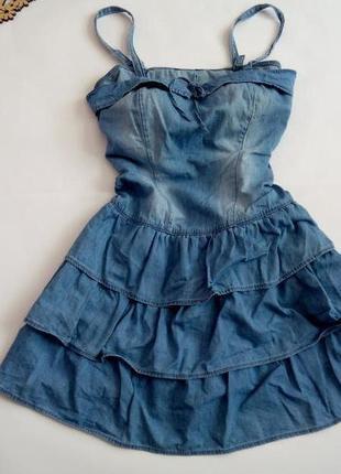 Платье мини 48 размер рюши голубое сарафан скидка нарядное на ...
