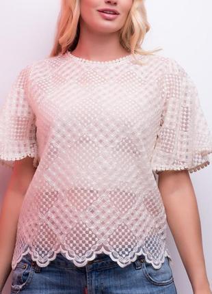 Красивая ажурная блуза с топом