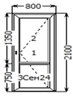 Двері міжкімнатні металопластикові 800*2100