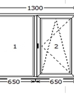 Вікно металопластикове (двохстороння ламінація золотий дуб) 1300*