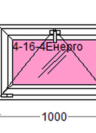 Вікно металопластикове(фрамуга) розміром 1000*650
