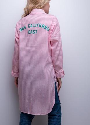 Длинная рубашка в полоску с разрезами, m/l