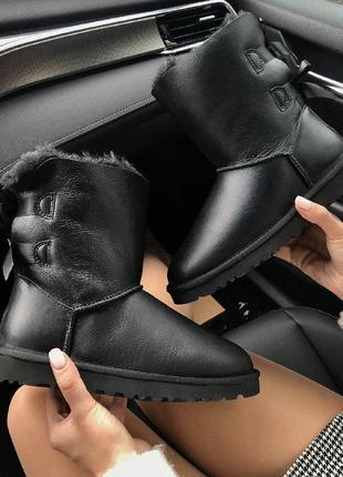 Шикарные женские угги ugg bailey bow 2 black leather натуральн...