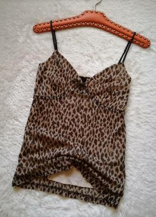 Майка топ в бельевом стиле леопардовый принт размер 38-40 esprit