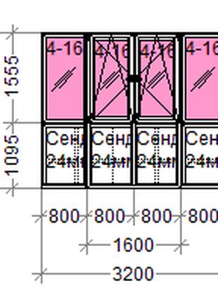 Французький бпалкон розміром 3200*2650