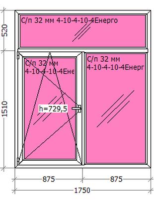 Вікно металопластикове 1750*2030(Aluplast) Німеччина