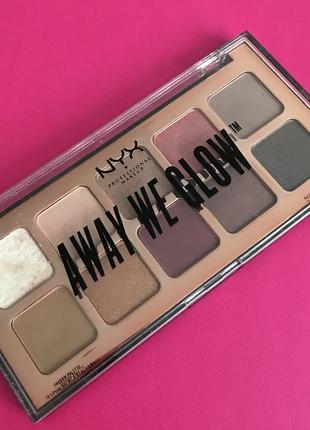 Палетка теней nyx professional makeup away we glow shadow palette