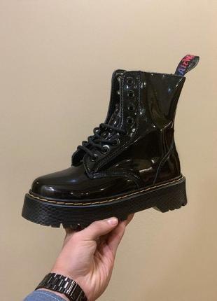 Шикарные ботинки dr. martens jadon black patent {мех} на зиму,...