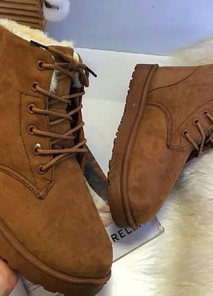 Ботинки на меху(ЗИМА) Эко замша/мех