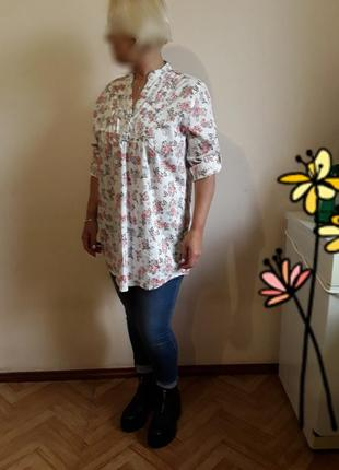 Батистовая  блузка туника в принт