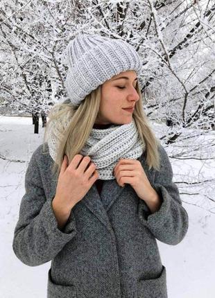 Теплая шапка + хомут (набор, можно по отдельности)