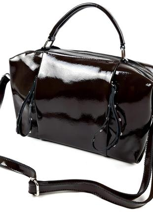 Кожаная сумка темный-шоколад galanty