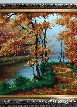 "Картина из чешского бисера ""Лето в лесу ""..."