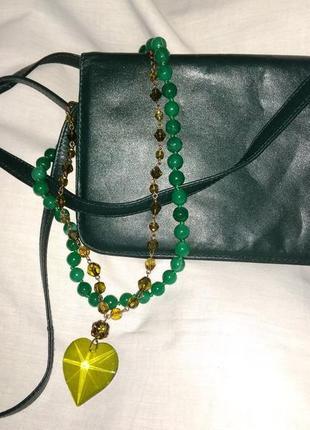 Сумка клатч натуральная кожа, бутылочный зелёный цвет