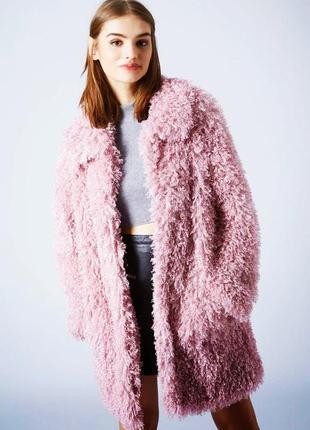 Куртка пальто искусственный мех ламы,цвет пудра,размер12-18