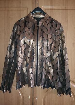 Куртка ветровка пиджак натуральная кожа цвет античная медь