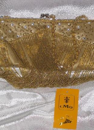 Шикарный клачт цвет золото,бисер,атлас