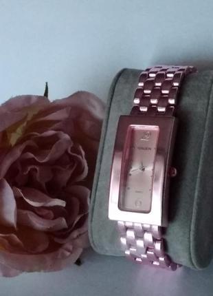 Часы gruen розовые,металлический браслет,новые!