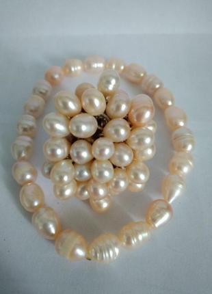 Набор кольцо и браслет натуральный жемчуг.