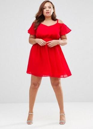 Asos красное платье с открытыми плечами