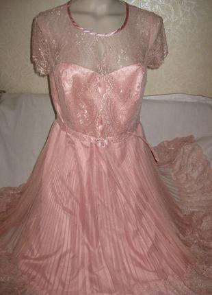 Шикарное платье debut (англия) 14-16 размер !цвет пудра!