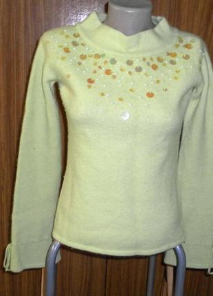 Тёплый ангоровый, шерстяной, свитер, кофта, салатовый цвет, по...