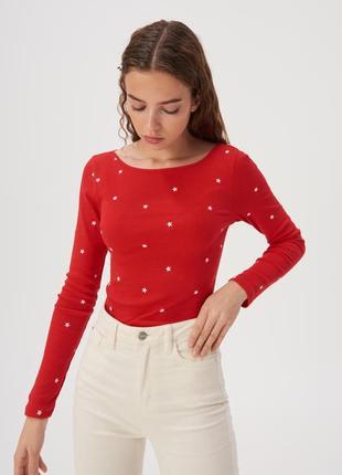Новая модная облегающая красная кофта лонгслив блузка польша у...