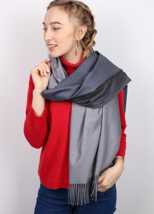 Теплый палантин шарф серый омбре градиент в наличии