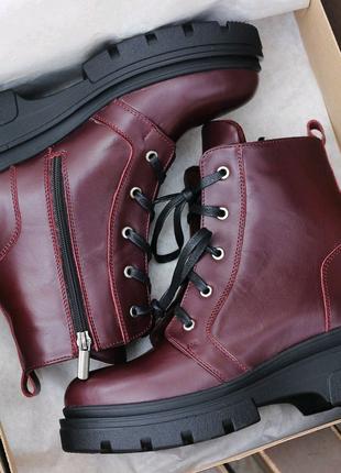Женские зимние ботинки кожа, шерсть