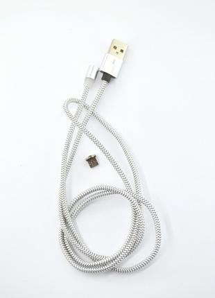 Кабель Usb Micro USB 4you Magnetic silver (2000mah, плетение П...