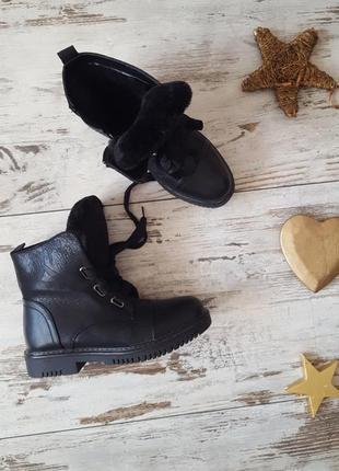 Зимние теплые ботинки эко кожа