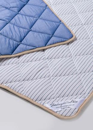Одеяло из шерсти мериносов синее в полоску 140х100 детское
