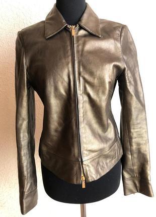 Золотистая кожаная куртка press b bastyan в идеальном состоянии